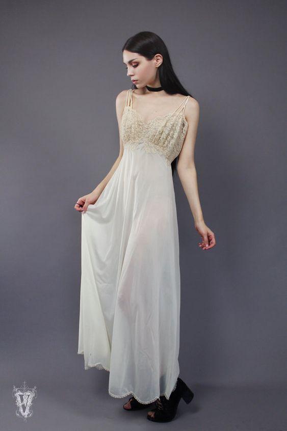 Sz S/M Vintage Lingerie 1980s Ivory Lace Slip Dress by VespereVintage on Etsy