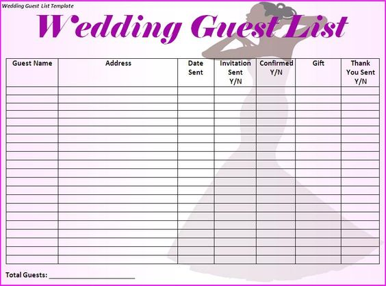 Wedding Guest List Template Printable on wedding event planning – Event Guest List Template