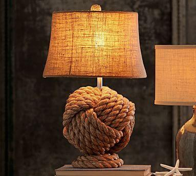 rope knot table lamp base potterybarn living rooms. Black Bedroom Furniture Sets. Home Design Ideas