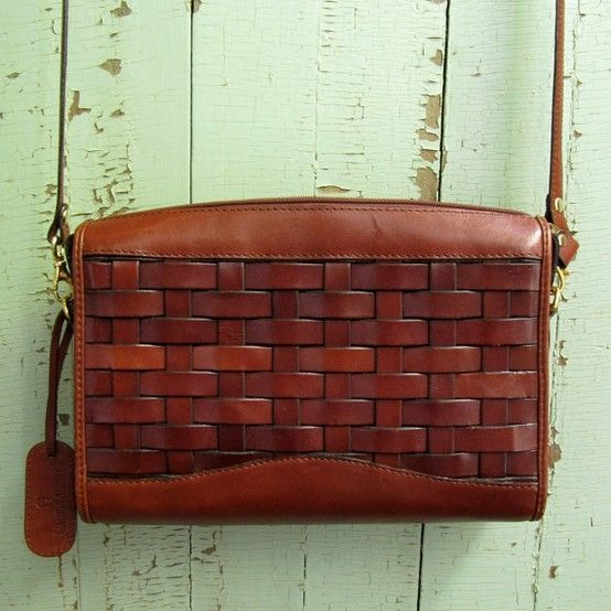 vintage 1980s Etienne Aigner Basket Woven Leather Handbag by hollie