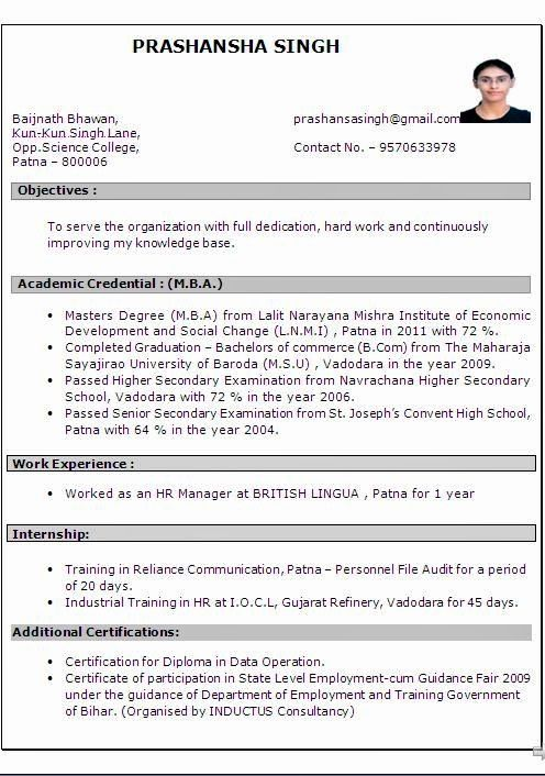 Resume Format For 4 Years Experience In Hr Best Resume Format Resume Format Free Download Resume Format