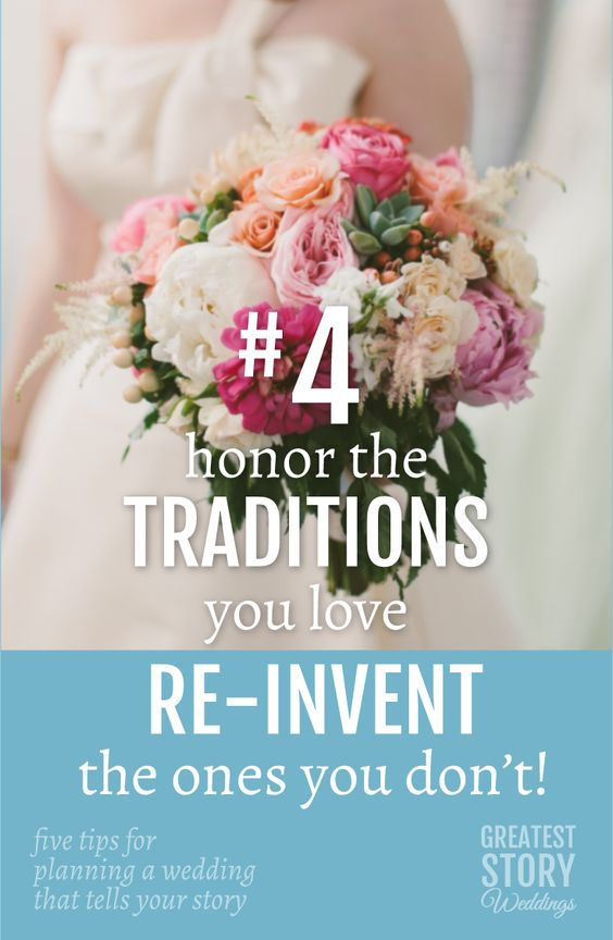 Enjoy the traditions you've always wanted to have, and for those you just don't get, maybe it's time to put your own creative spin on them. For example, you don't have to give away your bouquet. Instead, you can dedicate it to someone awesome in your life! | from Five Tips for Planning a Wedding that Tells Your Story