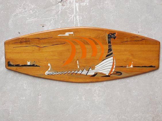 Large Belart Teak Danish Wood Wall Plaque Viking Ship Scene