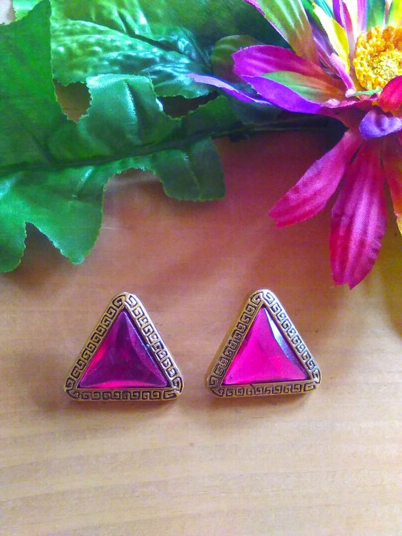Pink Fucshia Gold Rhinestone Triangle Button Earrings