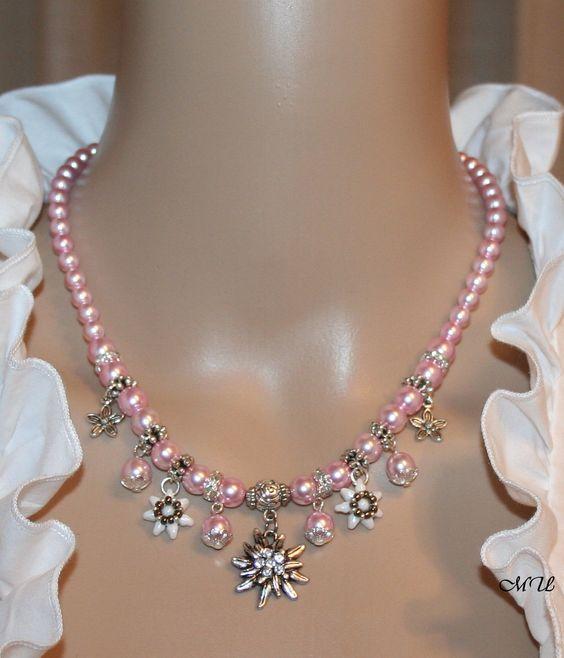 Perlen-Halskette mit Edelweiss von Edelweiss51 auf Etsy