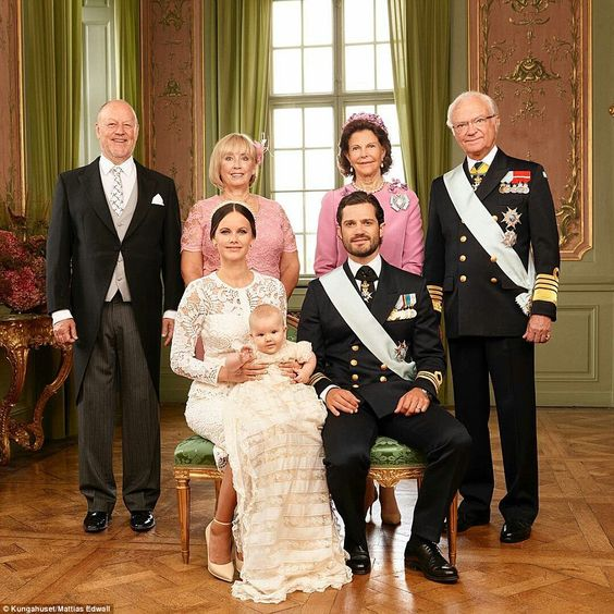 The young couple couple are joined by Carl Philip's parents, King Carl XVI Gustaf and Queen Silvia (right) as well as Sofia's parents, Marie and Erik Hellqvist Sep 2016