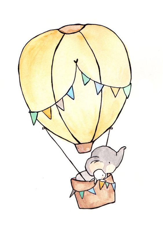 Volar lejos azul--vivero arte del retrato, arte de pared infantil, guardería del niño, vivero chica, conejo conejo, elefante
