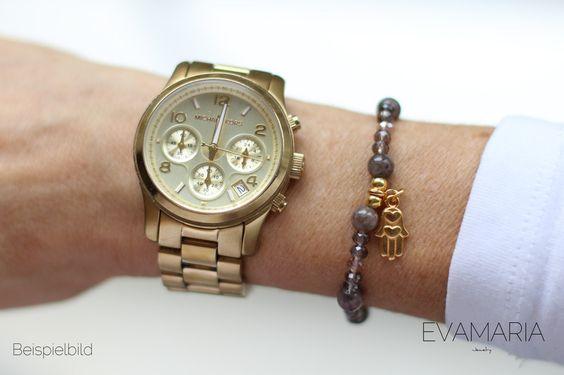 Armbänder - Armband mit Natursteinen und vergoldetem Anhänger - ein Designerstück von evamariajewelry bei DaWanda