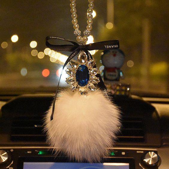 Car Mirror Charm-Crystal Cameo and Fur Ball Rear View Ornament - Carsoda
