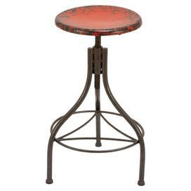 Bring storied style to your home d�cor with this artfully crafted design.Product: Barstool Construction Material: Metal Color: RedFeatures: Adjusts to 35 H  Dimensions: 28 H x 17 Diameter
