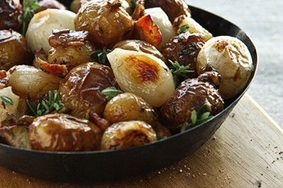 Roasted Potatoes with Bacon, Pearl Onions and Sherry Vinegar.....This is going to be a new holiday dish in our home:)