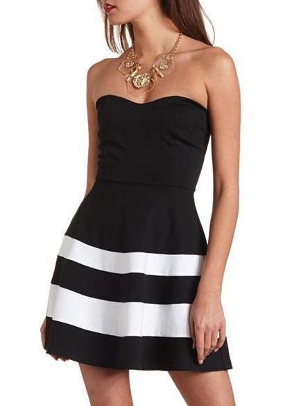 Details about Sexy Striped Strapless Skater Dress Dress Mini Tube ...