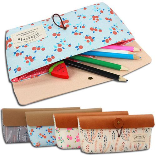 Cute Flower Pattern Pencil Pouch Bag for Stationary Cosmetic Back To School