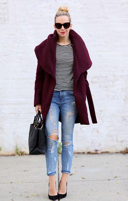 Coat: Tahari (40% off now!)   Jeans: Current/Elliott (50% off now!) Shoes: Jimmy Choo Anouk   Tee: LA'T by L'Agence   Handbag: Coach Borough Bag
