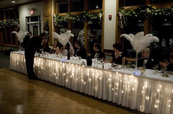 How to: head table with tulle? :  wedding headtable lights sweetheart tabel tulle Icicle Lights