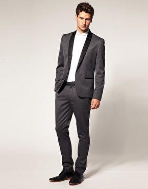 Slim Fit Gray Tuxedo Suit Jacket. [ HGNJShoppingMall.com