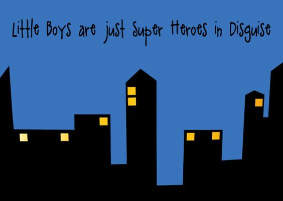 Little Boys are Just Super Heroes in Disquise- Vinyl Wall Decal .........So cute for a little boys room!
