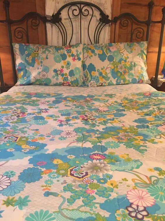 Vintage Wamsutta Ultracale Kimono Pattern Bed Sheets Blue Colorway Vintage Bed Sheets Bedding Pattern Patterned Bedding