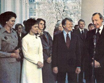 President and Mrs. Jimmy Carter with Kurt Waldheim Vintage Postcard by attictreasuresbyjudy. Explore more products on http://attictreasuresbyjudy.etsy.com
