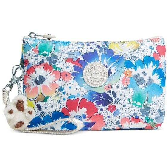 Kipling Creativity Xl Wristlet ($42) ❤ liked on Polyvore featuring bags, handbags, clutches, in bloom, blue purse, wristlet purse, kipling, wristlet handbags and wristlet clutches