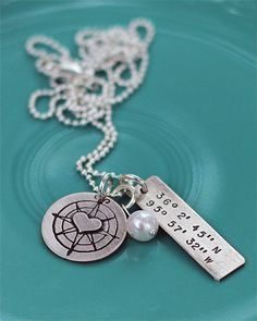 The coordinates of your heart. For my childrens birthplace? For the inside of hubbies' wedding ring where we got married, met, had our first kiss? I love the idea of reminders of your love -in code.