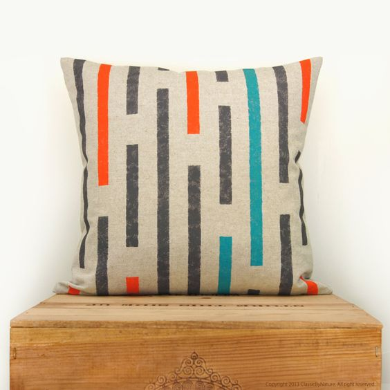 Throw+pillow+covers++Handprinted+pillow+in+by+ClassicByNature,+$50.00