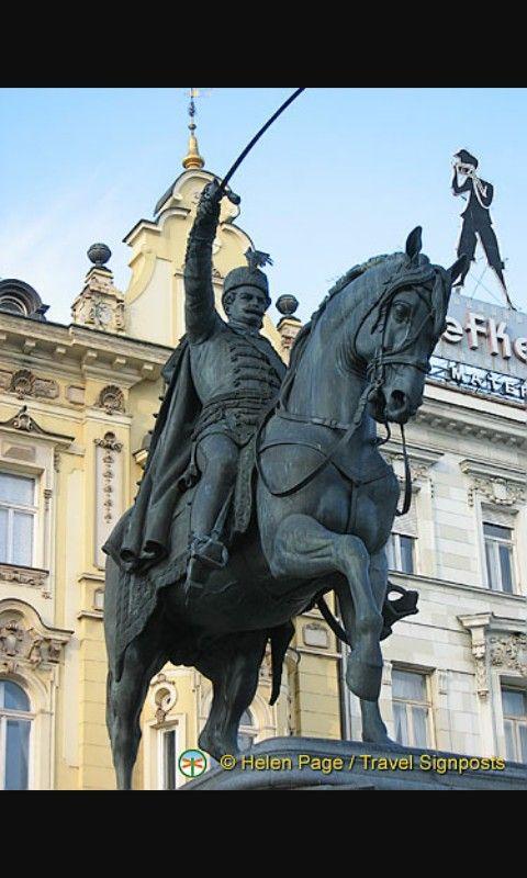 Ban Jelacic Main Square Zagreb Zagreb Croatia Lion Sculpture Zagreb