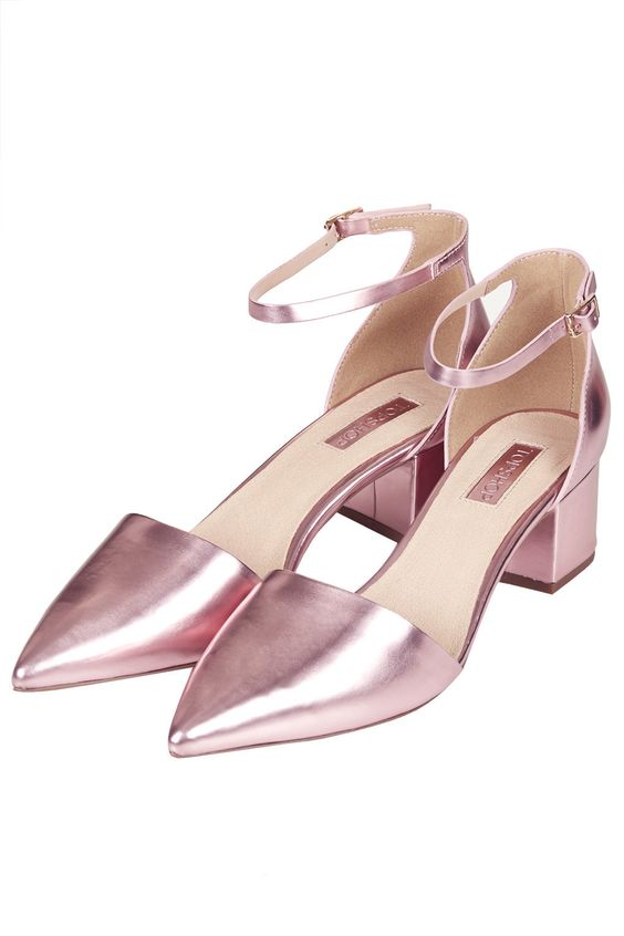 Topshop JIVE Metallic Mid-Heel Shoes - pink!  Shoes. &lt3