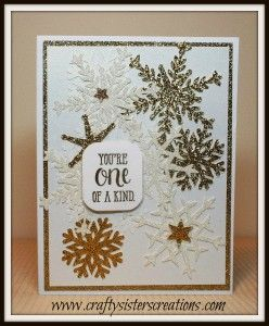 Snowflake card from Anna Griffin's Winter Wonderland. Design Team project for Bitten by the Bug 2 www.craftysisterscreations.com