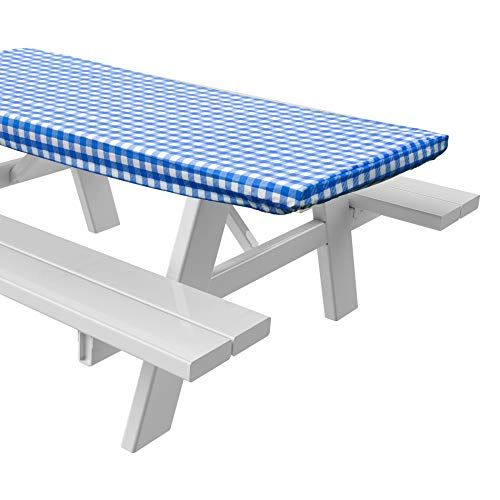 Sorefy Vinyl Picnic Table Fitted Tablecloth Cover Checkered Design Flannel Backed Lining 2 Picnic Table Fitted Tablecloths Table Cloth