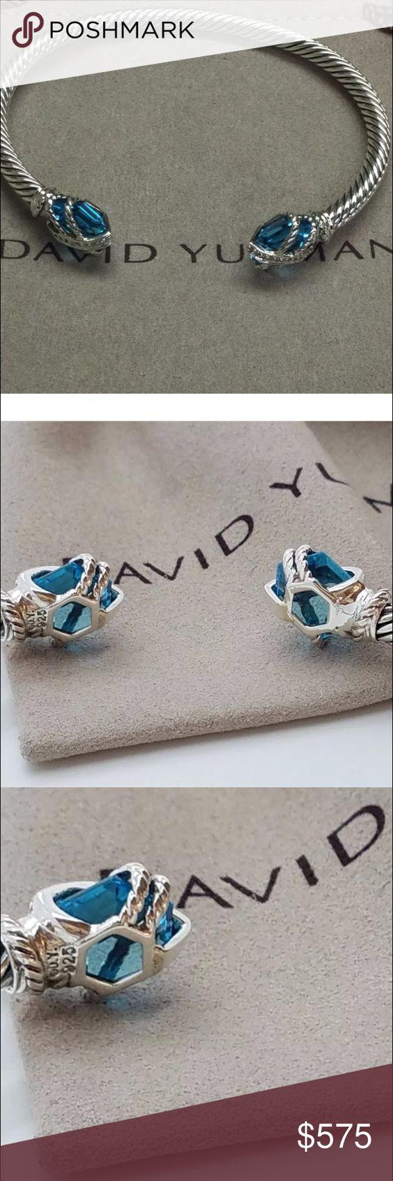 David Yurman cable wrap topaz bangle Size medium DY 925 with pouch and gift condition David Yurman Jewelry Bracelets