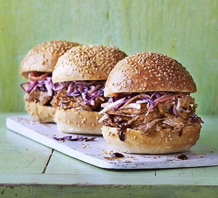 BBQ pulled pork. An American classic, the meat is slow-cooked then shredded or 'pulled' and layered with BBQ sauce, pickles and slaw in a soft brioche bun
