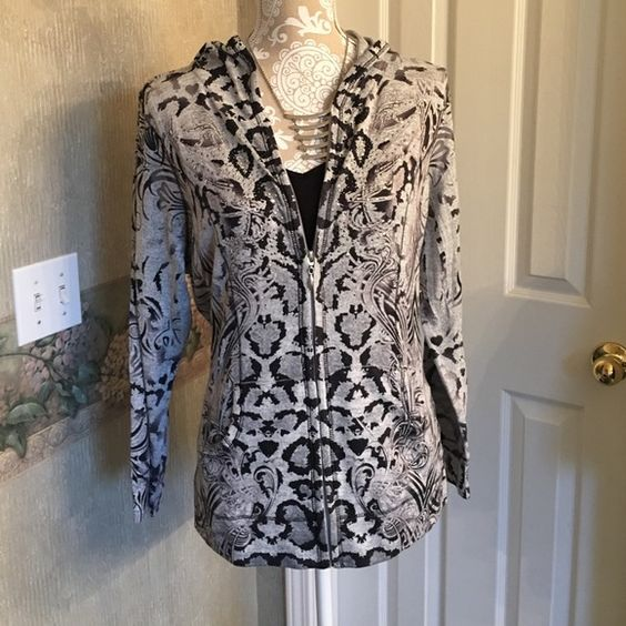 Hooded Top Really cute Animal Print hooded zip up top. Grey black and silver. excellent Condition! Style & Co Tops