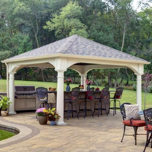 This Is A 14 X14 Vinyl Pavilion Made With Ivory Colored Vinyl 10 Round Columns And Aged Redwood Shingles Gazebo Com Pergola Patio Gazebo Gazebo