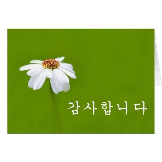 Thank You In Korean White Daisy Zazzle Com Thank You In Korean Custom Thank You Cards Daisy