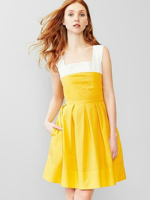 yellow dress gap jeans