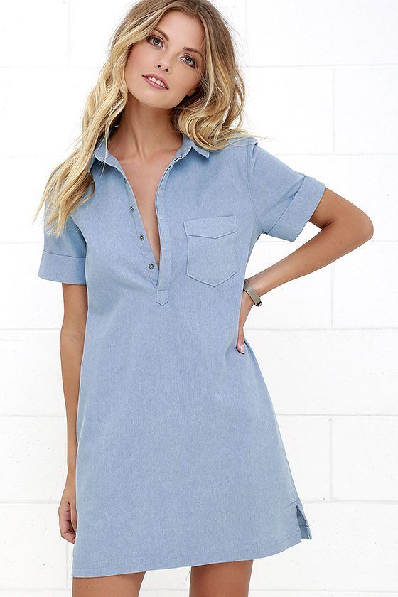 Friday Luncheon Light Blue Chambray Shirt Dress at Lulus.com!
