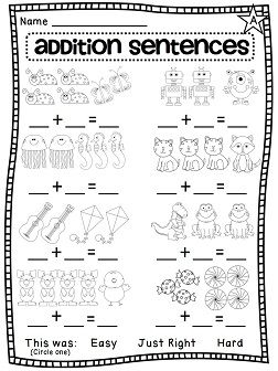 Worksheets Conversion Sentence For Kindergarten first grade math unit 3 addition to 10 writing flying with kids number sentences pictures help teach the skill such a great idea