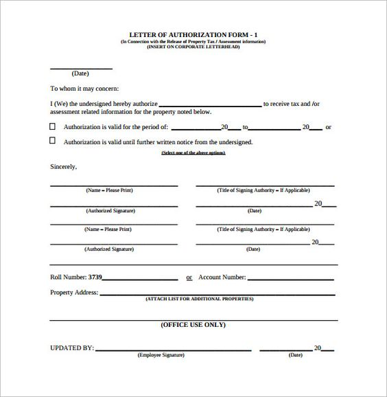 letter authorization form samples examples format for claiming - letter of authorization