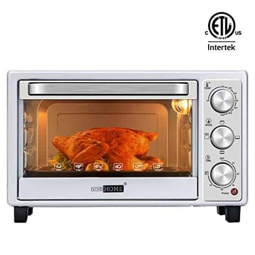 Vivohome 6 Slice Countertop Toaster Oven With Bake Pan Broil Toasting Rack And Drag Hook Oven Mitten Included Stainless Steel Black Air Fryer Sale Get Up In 2020 Countertop Toaster Oven