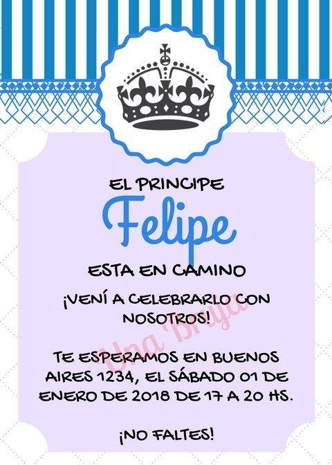 Invitación Baby Shower Príncipe Felipe Archivo Descargable