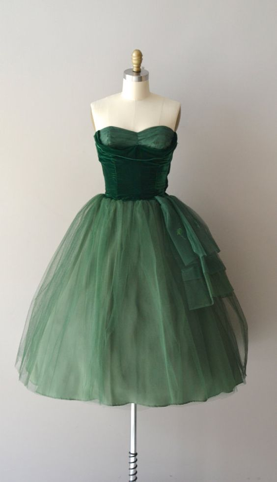 green fluffy dress