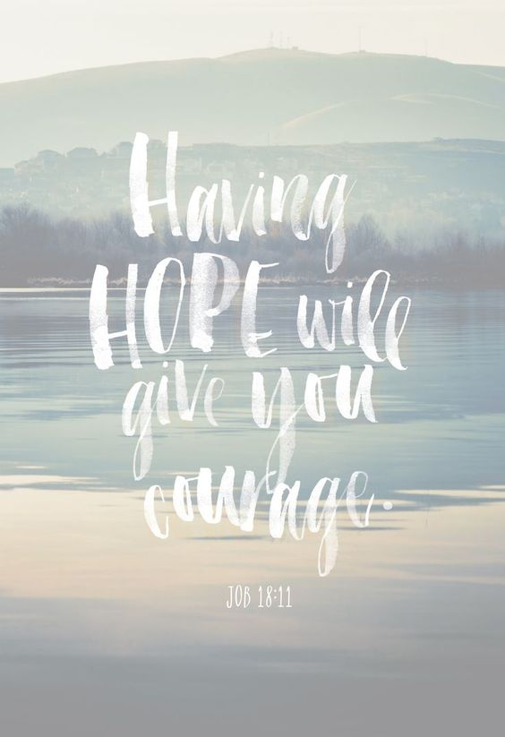 Having hope will give you courage.: