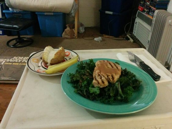 Ahi Tuna and Kale with a bake potato's with pickels