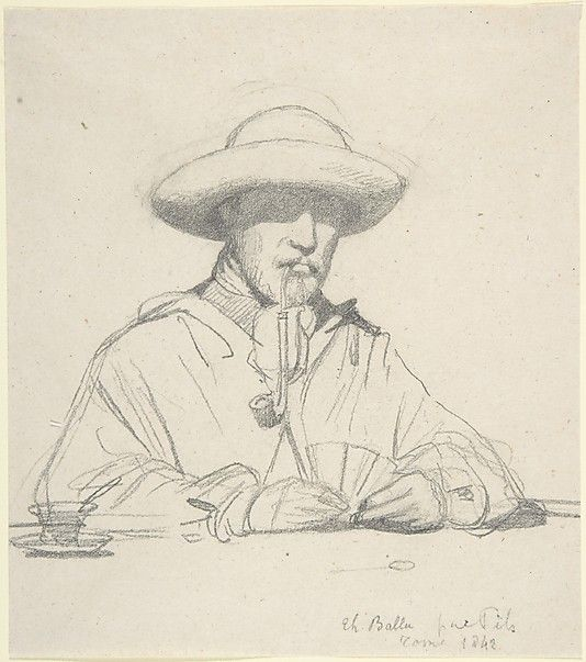 Isidore Pils, Portrait of Théodore Ballu, 1830–75, Graphite, 5 7/8 x 5 1/4 in. (15.0 x 13.3 cm)
