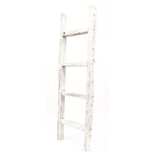 Amazon Com Decorative Ladder Reclaimed Old Wooden Ladder 4 Foot Rustic Barn Wood Home Kitchen Old Wooden Ladders Ladder Decor Wooden Ladder