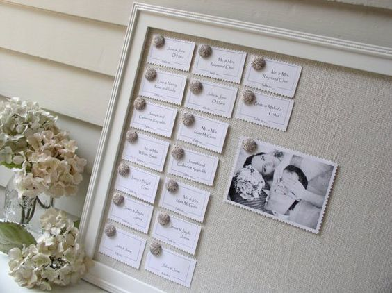 burlap wedding escort card holder