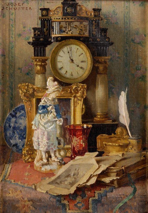 Josef Schuster (1812-1890) —  Antiques Still Life wiht Cock  (694×1000)