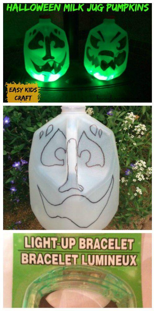 Halloween Milk Jug Pumpkins Craft on Having Fun Saving and Cooking.