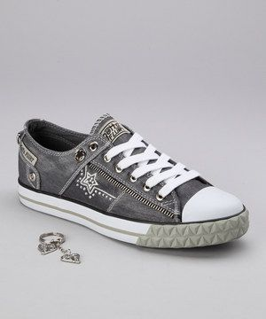 Step up that street cred clad in these stylish sneaks. Zipper and embroidered detailing against a cool denim backing adds a pop of pizzazz to any casual-chic ensemble.